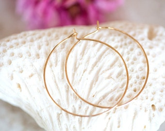 Gold Hoop Earrings, Round Hoop Earrings, 14K Gold Filled Hoop Earrings