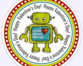 Custom Robot Valentine's Day Labels, Robot Stickers, Valentine's Day Stickers - 2.5 inch round