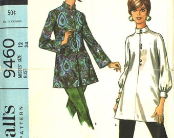 Mostly UNCUT Nehru Blouse with Mandarin Collar Size 12 Bust 34 McCalls 9460  Vintage Sewing Pattern