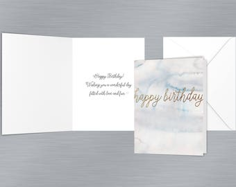 Watercolor Marble Birthday Card