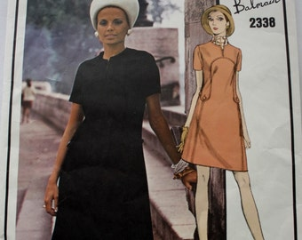Vogue Paris Original 2338,  Semi-Fitted One Piece Dress, Vintage Sewing Pattern, Bust 42, 1960s Pierre Balmain, With Label
