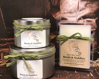 Boots & Saddles - Smell of Leather - Soy Wax Tarts - Leather Candles - Leather Lover Gift - Scented Soy Candle  Wax Melt - Mother - Gift