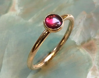 Gold Garnet ring, January birthstone ring, Gold Filled ring, stacking ring, personalised ring, dainty ring, gemstone ring - So happy R2455