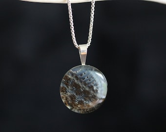 Real Snake Skin in Resin - Sterling Silver - Pendant with Chain