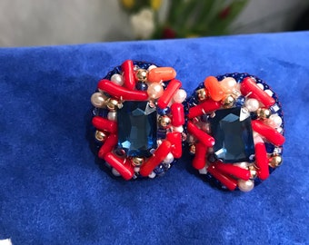 Red coral blue rhinestone earrings beaded clips natural gemstones jewelry