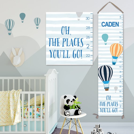 Oh The Places You'll Go Art - Personalized Canvas Growth Chart, Height Chart, Boy Growth Chart, Canvas Growth Chart - GC3019S