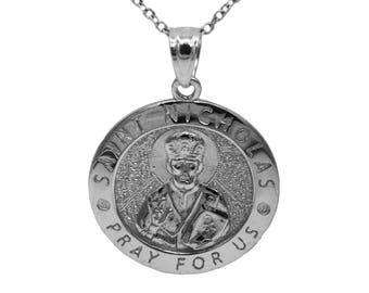 925 Sterling Silver Saint Nicholas Pray For Us Medallion Necklace