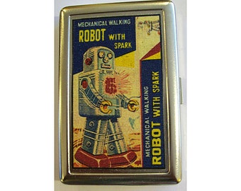 retro robot metal wallet vintage 1950's tin toy cigarette case ID holder kitsch