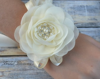 Ivory Chiffon Flower Wrist Corsage | Vintage Inspired Wedding Corsage | Elegant Wedding | Mother of the Bride | Flower Girl | Prom