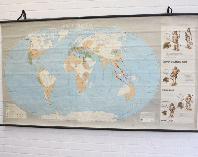 Large Czech School Map Of The Human Journey
