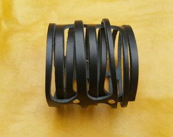 Black cuff bracelet, Leather bracelet, genuine leather wristband, first class leather cuff bracelet, wrist band,