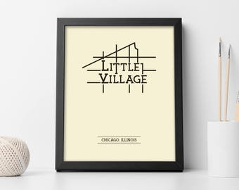 Little Village Chicago Neighborhood Map 8x10 Wall Art Print