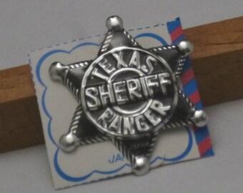 Vintage Texas Sheriff Ranger Tin Toy Pin Back Badge, 1960s