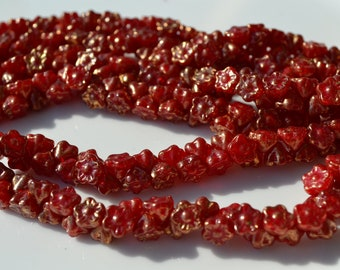 Ruby Red with Gold Splatter Small Button Style Beads   50