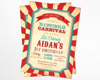 Vintage Circus / Carnival Birthday Invitation - Printable