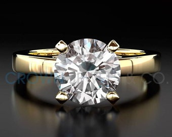 Round Brilliant Cut F SI 0.9 ct Diamond Solitaire Ring Ladies 14 Karat Yellow Gold Engagement Ring For Women