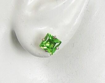 14K White Gold Post Earrings Square Peridot Gemstone Earrings Stud Earrings P14KWPER6MSQ