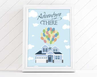Disney UP House Portrait Custom Home Illustration, Gift for Disney UP Wedding Gift, Nursery, or Anniversary, Adventure is Out There
