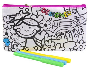 coloring with 5 felt girl back to school Kit