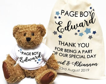 Personalised teddy bear Page Boy thank you wedding day gift. Mini usher wedding favor.
