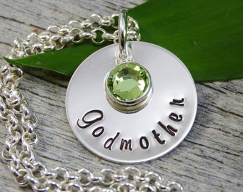 Ready to ship - Hand Stamped Jewelry - Personalized Jewelry - Godmother Necklace - Sterling Silver Necklace - Birthstone