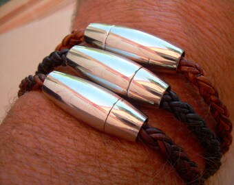 Braided Mens Leather Bracelet with Stainless Steel Magnetic Clasp, Mens Bracelet, Mens Jewelry