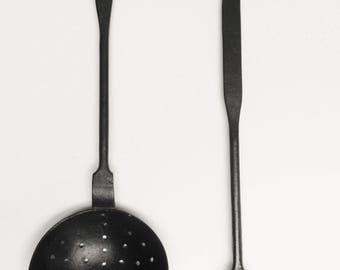 Vintage Ladle and Slotted Spoon Set of Two, Primitive Kitchen Decor, Country Farmhouse Decor