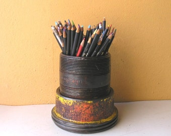 Metal Utensil Holder, Pencil Cup, Industrial Style, Pen Holder, Desk Accessory, Art Brush Holder, Remote Control Holder, Candy Dish