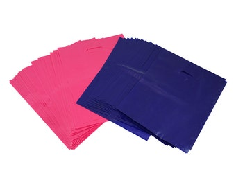 "100 Pink/Purple Plastic Bags Shopping Merchandise Retail 12"" x 15"" Diecut Handle"