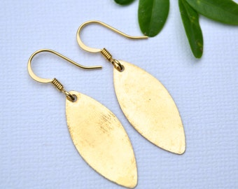 Gold Marquise Drops . Earrings . Mara Collection