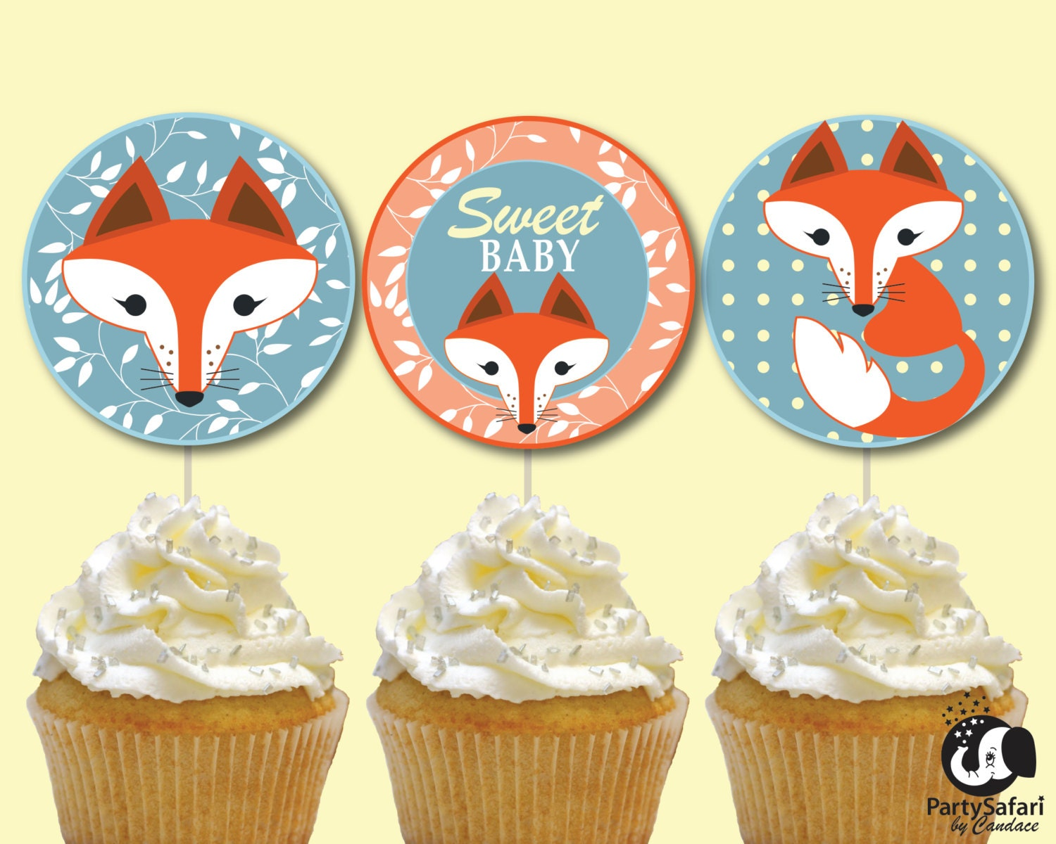 Woodland Red Fox Printable Cupcake Toppers for Baby Shower | Fox ...