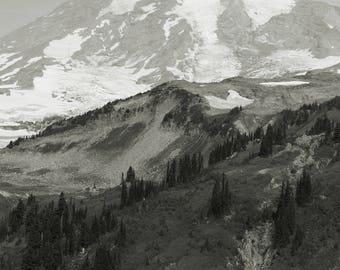 Mount Rainier Photo, Seattle Print, Seattle photo, black and white