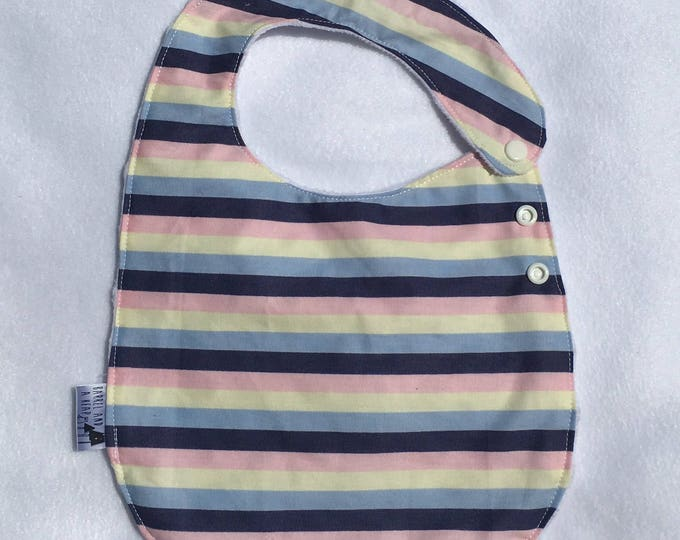 Pink, Yellow, and Blue Stripe Adjustable Side Snap Bib with Minky Back