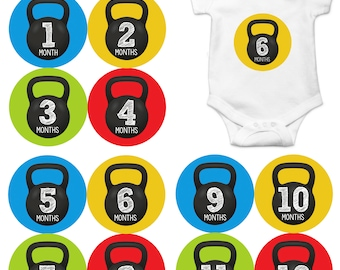Monthly Baby Milestone Stickers 12 Month Sticker Baby Month Sticker | Workout, Gym, Kettlebell Crossfit  1201