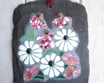 Floral Mosaic on Slate ~ Gift for Her ~ Mosaic Art ~ INDOORS ~ Decorative Wall Plaque ~ Flower Art ~ Unique Decor ~ Housewarming Gift