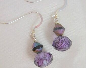 Purple Grape Lavender Glass Beaded Dangle Sterling Earrings