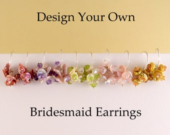 Bridesmaid Earrings, Design Your Own, Keishi Pearl, Flower Blossom, Garden Wedding, Sterling Silver Jewelry, Free Shipping