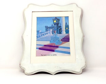 6x9 Vintage Cinderella The STRoKe oF MiDNiGHT Glass SLiPPeR Print Illustration. Book Plate Princess Print, Vintage Disney Print