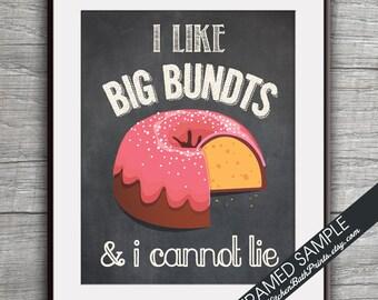 I Like Big Bundts and I cannot Lie (Bundt Cake) - Art Print (Funny Kitchen Song Series) (Featuring on Vintage Chalkboard) Kitchen Art Prints