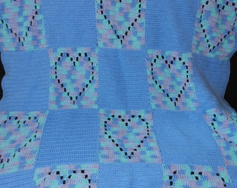 Crochet. Baby or Toddler  Blanket with Variegated Hearts and Blue Squares