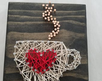 DIY String Art Kit-Coffee cup with heart