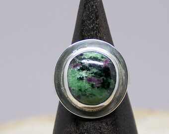 Ruby and Zoite Sterling SIlver Ring, One of a Kind, Sterlling Silver, Ring Size 7.5,Blue-Green Ring, Stone Ring, Handmade Ring R69