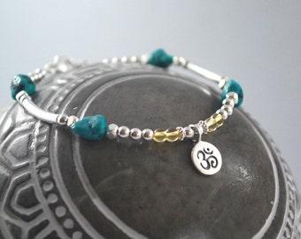 Turquoise + Citrine Om Bracelet. Sterling silver Bracelet, Meaningful Bracelet, boho yoga bracelet, Turquoise Citrine OM Bracelet everyday