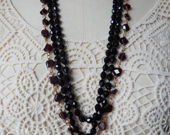 Otranto - Gothic Garnets and Cast Brass Gargoyle Necklace plus French Jet Flapper Bead Necklace - 2 Pieces