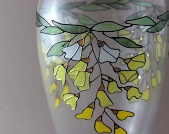 Vintage glass vase, enameled, wedding gift