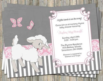 Pink little lamb baby shower invitation floral lamb baby little lamb baby shower invitation nursery rhyme shower digital printable file filmwisefo Choice Image