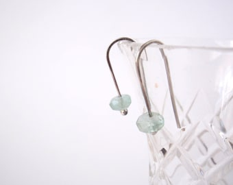 Aquamarine Earrings ~ Pale Blue Faceted Gemstones on Handcrafted Eco-Recycled Sterling Silver Hooks ~ Petite Minimalist Timeless Classic