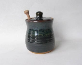 Pottery Honey Pot, Ceramic Honey Pot, Jar for Honey, Stoneware Honey Pot