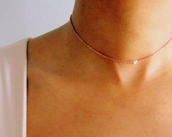 Herkimer Diamond Layering Necklace, Tiny gemstone Choker, Dainty crystal point choker, dainty gemstone choker simple gold choker boho choker