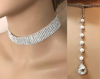 Bridal Choker, Silver Choker Necklace, Rhinestone Crystal Choker, Wedding Choker, Wedding Necklace, Bridal Backdrop Necklace, Bridal Jewelry